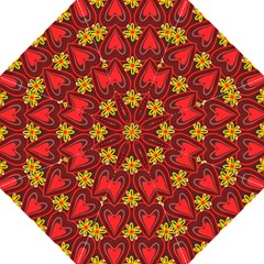 Digitally Created Seamless Love Heart Pattern Tile Folding Umbrellas by Simbadda