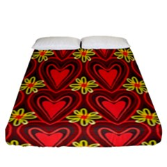 Digitally Created Seamless Love Heart Pattern Tile Fitted Sheet (california King Size) by Simbadda