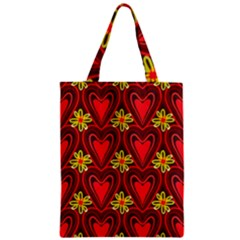 Digitally Created Seamless Love Heart Pattern Tile Zipper Classic Tote Bag by Simbadda