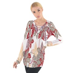 Floral Pattern Background Women s Tie Up Tee by Simbadda