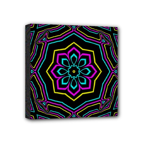 Cyan Yellow Magenta Kaleidoscope Mini Canvas 4  X 4