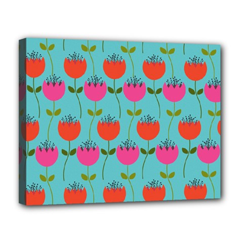 Tulips Floral Background Pattern Canvas 14  X 11