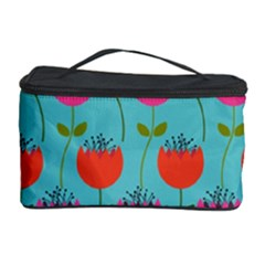 Tulips Floral Background Pattern Cosmetic Storage Case by Simbadda