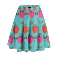 Tulips Floral Background Pattern High Waist Skirt by Simbadda