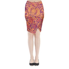 Floral Pattern Midi Wrap Pencil Skirt by Valentinaart