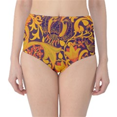 Floral Pattern High Waist Bikini Bottoms