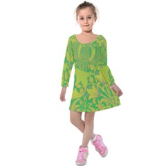 Floral Pattern Kids  Long Sleeve Velvet Dress by Valentinaart