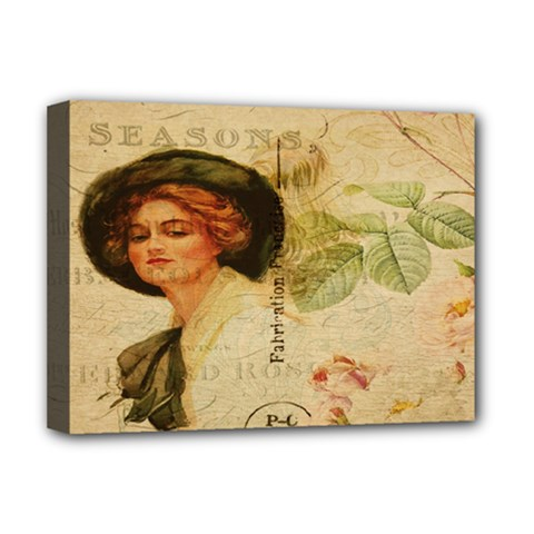Lady On Vintage Postcard Vintage Floral French Postcard With Face Of Glamorous Woman Illustration Deluxe Canvas 16  X 12