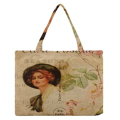 Lady On Vintage Postcard Vintage Floral French Postcard With Face Of Glamorous Woman Illustration Medium Zipper Tote Bag by Simbadda