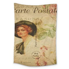 Lady On Vintage Postcard Vintage Floral French Postcard With Face Of Glamorous Woman Illustration Large Tapestry