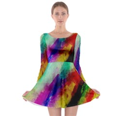 Colorful Abstract Paint Splats Background Long Sleeve Skater Dress