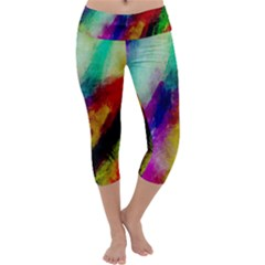 Colorful Abstract Paint Splats Background Capri Yoga Leggings