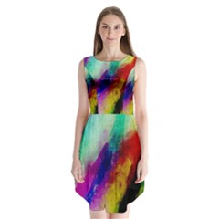Colorful Abstract Paint Splats Background Sleeveless Chiffon Dress