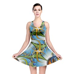 Random Fractal Background Image Reversible Skater Dress