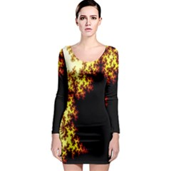 A Fractal Image Long Sleeve Bodycon Dress by Simbadda
