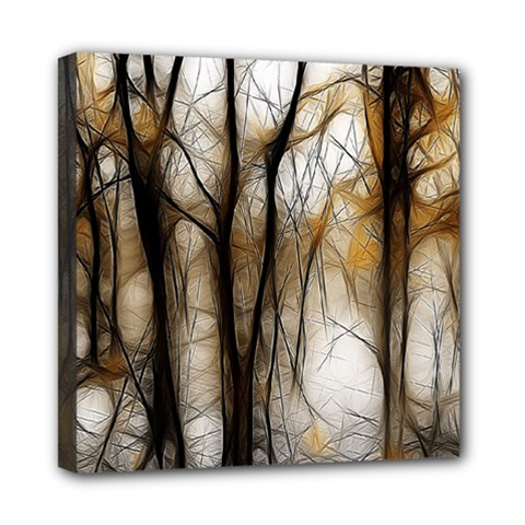 Fall Forest Artistic Background Mini Canvas 8  X 8  by Simbadda