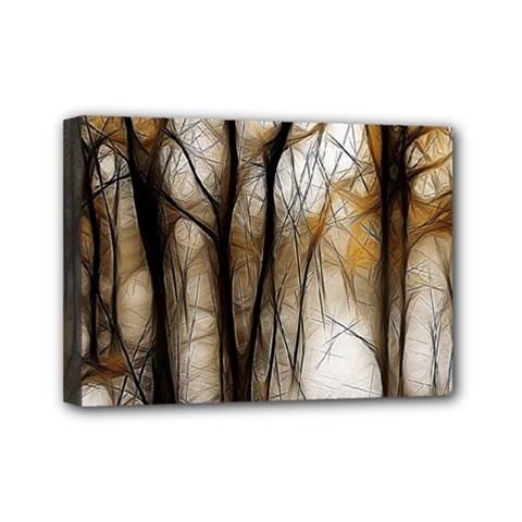 Fall Forest Artistic Background Mini Canvas 7  X 5  by Simbadda