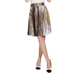 Fall Forest Artistic Background A Line Skirt