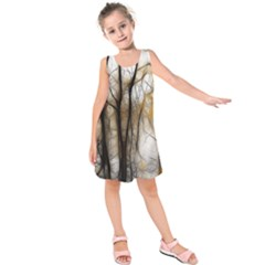 Fall Forest Artistic Background Kids  Sleeveless Dress by Simbadda