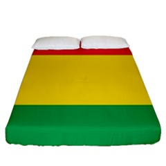 Rasta Colors Red Yellow Gld Green Stripes Pattern Ethiopia Fitted Sheet (queen Size) by yoursparklingshop