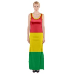 Rasta Colors Red Yellow Gld Green Stripes Pattern Ethiopia Maxi Thigh Split Dress by yoursparklingshop