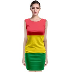 Rasta Colors Red Yellow Gld Green Stripes Pattern Ethiopia Sleeveless Velvet Midi Dress by yoursparklingshop