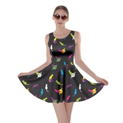 Colorful Space With Cats Saturn And Stars Skater Dress