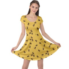 Yellow Pattern Of The Bee On Honeycombs Cap Sleeve Dress by CoolDesigns