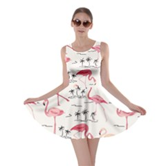 Colorful Flamingo Bird Pattern Skater Dress by CoolDesigns