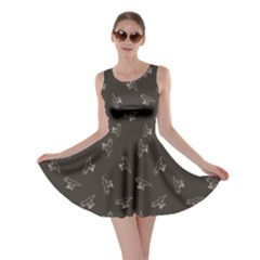 Black Tyrannosaurus Dinosaur Doodle Pattern Skater Dress by CoolDesigns
