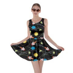Black Space With Cute Rocket Skater Dress by CoolDesigns