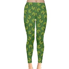 Green Clover Pattern For St Patricks Day Women s Leggings by CoolDesigns