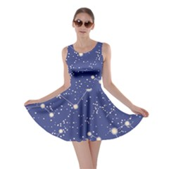 Blue Pattern With Constellations Of Southern Hemisphere Skater Dress by CoolDesigns