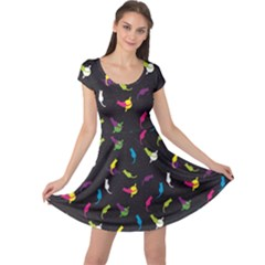 Colorful Space With Cats Saturn And Stars Cap Sleeve Dress