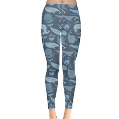 Blue Cute Doodle Blue Whales Marine Seamless Women s Leggings by CoolDesigns