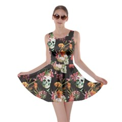 Black Skull And Flowers Pattern Skater Dress