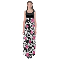 Pink Roses Empire Waist Maxi Dress by CoolDesigns