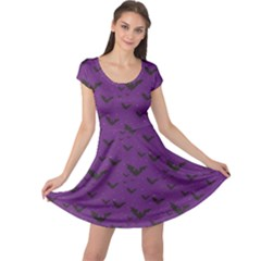 Purple With Halloween Bats And Stars Cap Sleeve Dress