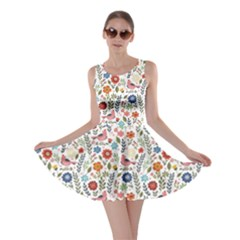 Yellow Floral Flowers Plants Pattern Skater Dress