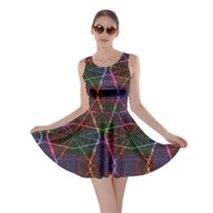 Black Neon Rainbow Colorful Laser With Random Beams Skater Dress