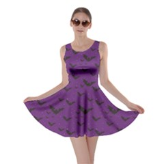Purple With Halloween Bats And Stars Skater Dress