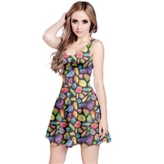 Colorful Colorful Watercolor Gem Pattern Reversible Sleeveless Dress by CoolDesigns