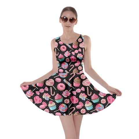 """Black Yummy Colorful Sweet Lollipop Candy Macaroon Cupcake Donut Seamless Skater Dress"