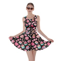 Black Yummy Colorful Sweet Lollipop Candy Macaroon Cupcake Donut Seamless Skater Dress