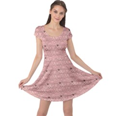 Pink Pattern With Cats Cap Sleeve Dress