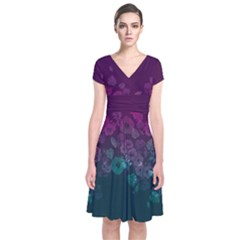 Purple & Teal Short Sleeve Front Wrap Dress by CoolDesigns