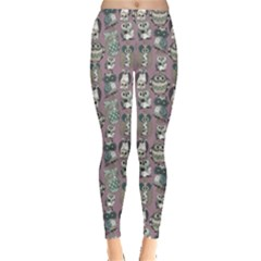 Gray Owl Pattern Women s Leggings by CoolDesigns