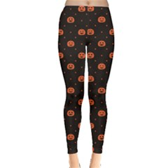 Black Black D Polka Dots Pattern With Halloween Pumpkin Women s Leggings by CoolDesigns