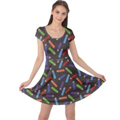 Colorful Pattern Of Colored Pencils Scattered Cap Sleeve Dress by CoolDesigns