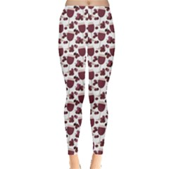Purple Pattern With Wine Glasses Leggings by CoolDesigns